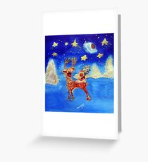 Little Angel on a Reindeer by Marie-Jose Pappas Greeting Card