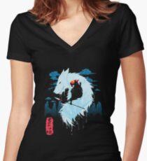 Camiseta entallada de cuello en V Princesa Mononoke Hime