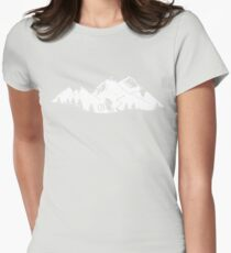 Wheelie in front of mountains Womens Fitted T-Shirt