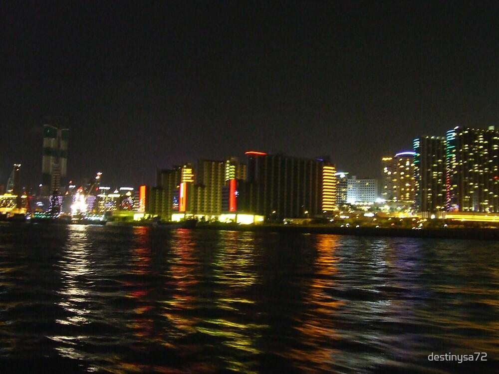 Hong Kong Victoria Harbour Lights by destinysa72