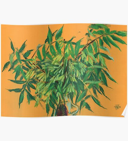 """""""Ash-tree"""", green & yellow, floral art Poster"""