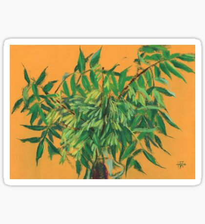 """Ash-tree"", green & yellow, floral art Sticker"