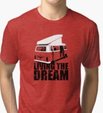 VW Camper Open Roof Living The Dream Tri-blend T-Shirt
