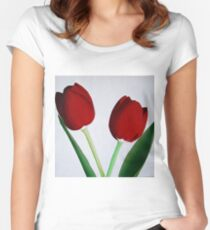 TWO RED TULIPS Women's Fitted Scoop T-Shirt