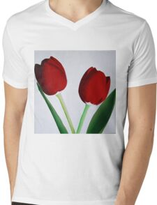 TWO RED TULIPS Mens V-Neck T-Shirt