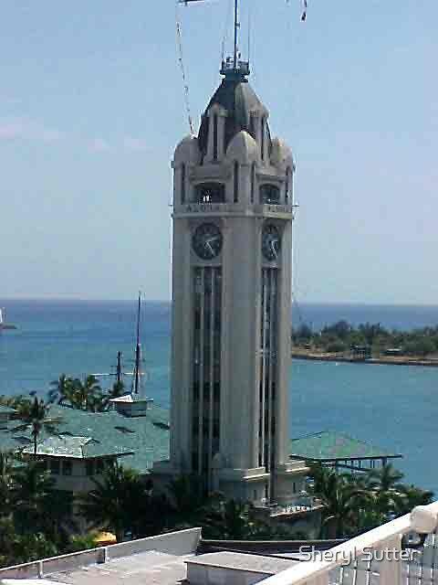 Honolulu Clock Tower  by Sheryl Sutter