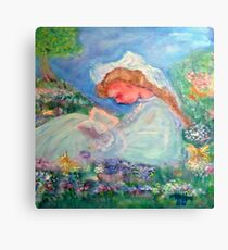 Little Angel on a Reindeer by Marie-Jose Pappas Yellow Canvas Print