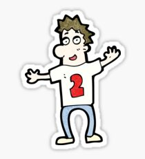 cartoon man in shirt with number two Sticker
