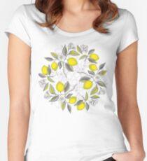 Camiseta entallada de cuello ancho Patrón de limón