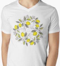 Zitronen-Muster T-Shirt mit V-Ausschnitt