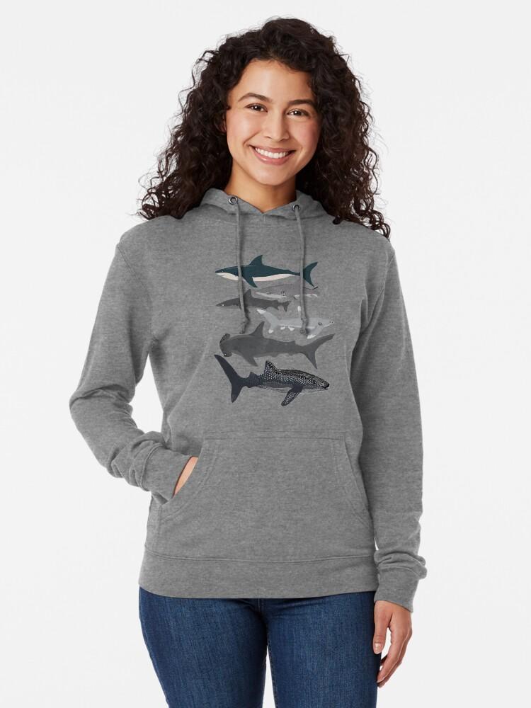 Alternate view of Sharks, illustration, art print ,ocean life,sea life ,animal ,marine biologist ,kids ,boys, gender neutral ,educational ,Andrea Lauren , shark week, shark, great white shark,  Lightweight Hoodie