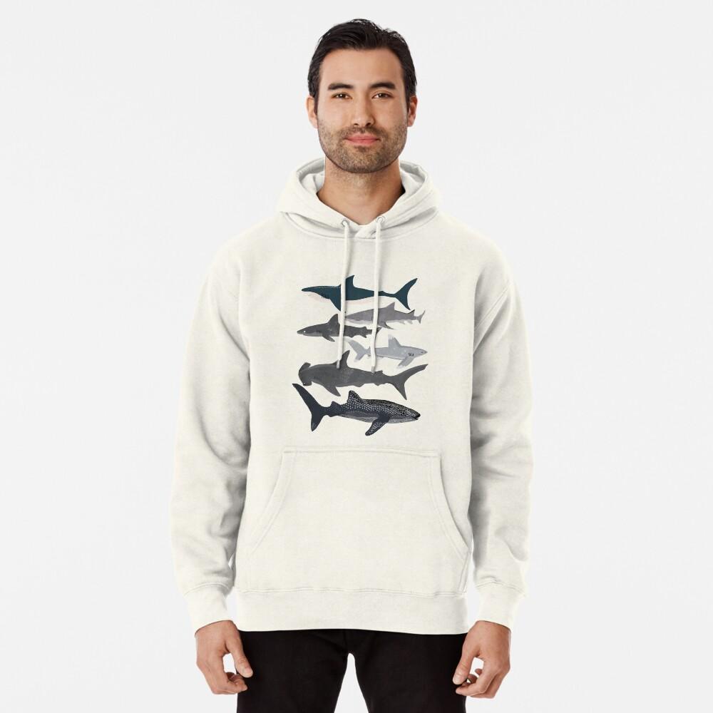 Sharks, illustration, art print ,ocean life,sea life ,animal ,marine biologist ,kids ,boys, gender neutral ,educational ,Andrea Lauren , shark week, shark, great white shark,  Pullover Hoodie