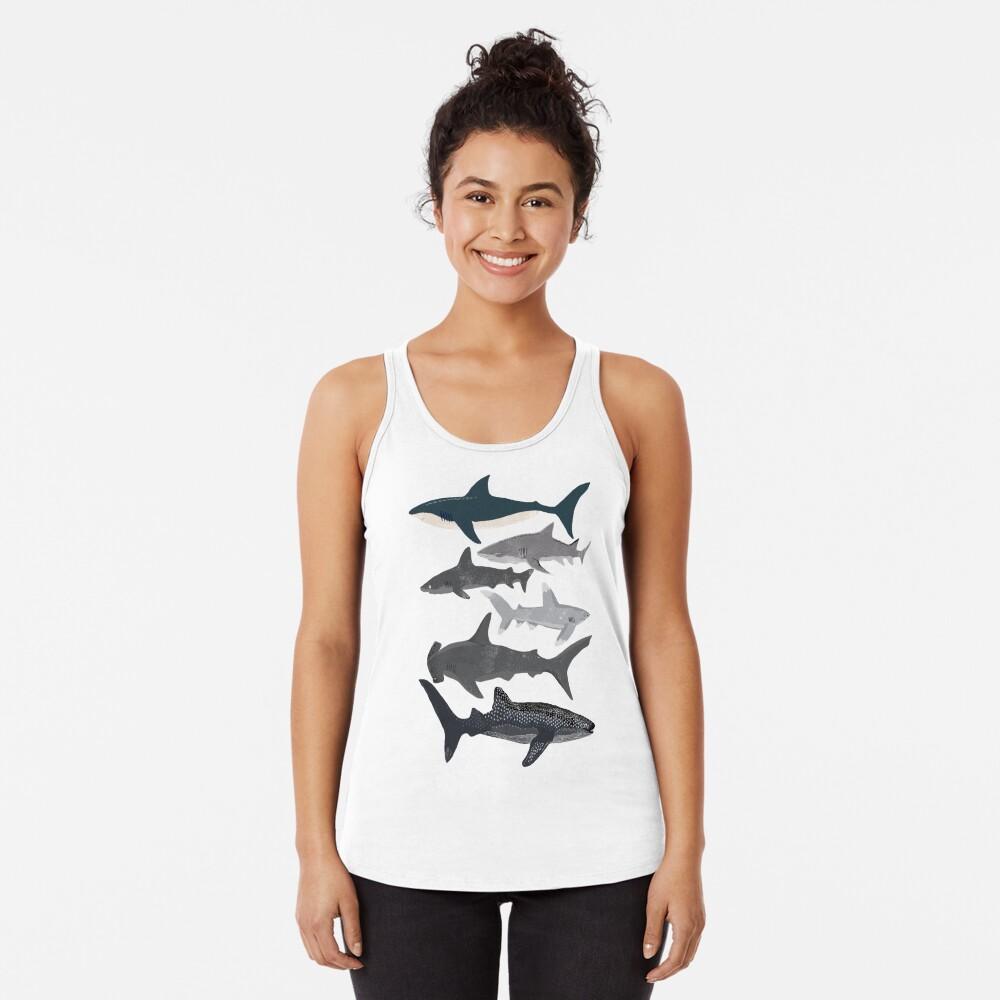 Sharks, illustration, art print ,ocean life,sea life ,animal ,marine biologist ,kids ,boys, gender neutral ,educational ,Andrea Lauren , shark week, shark, great white shark,  Racerback Tank Top