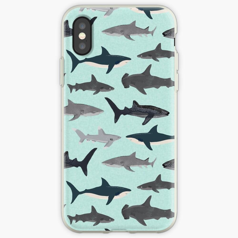 Sharks, illustration, art print ,ocean life,sea life ,animal ,marine biologist ,kids ,boys, gender neutral ,educational ,Andrea Lauren , shark week, shark, great white shark,  iPhone Case & Cover