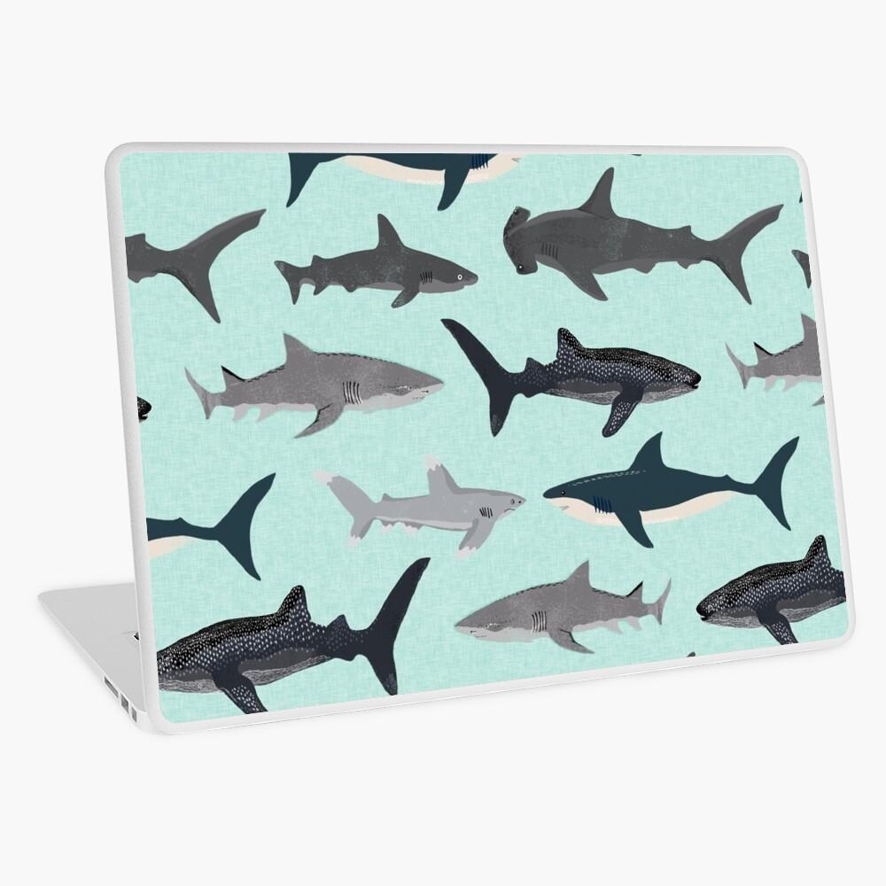 Sharks, illustration, art print ,ocean life,sea life ,animal ,marine biologist ,kids ,boys, gender neutral ,educational ,Andrea Lauren , shark week, shark, great white shark,  Laptop Skin
