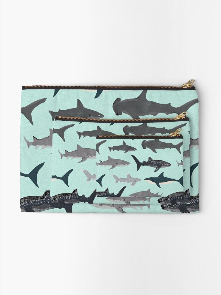 Alternate view of Sharks, illustration, art print ,ocean life,sea life ,animal ,marine biologist ,kids ,boys, gender neutral ,educational ,Andrea Lauren , shark week, shark, great white shark,  Zipper Pouch