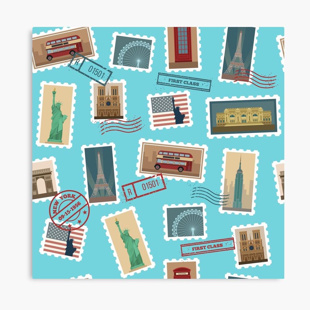 Reise-Briefmarken-nahtloses Muster: USA, New York, London, Paris Leinwanddruck