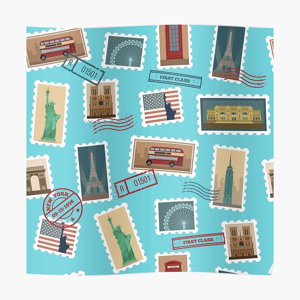 Reise-Briefmarken-nahtloses Muster: USA, New York, London, Paris Poster