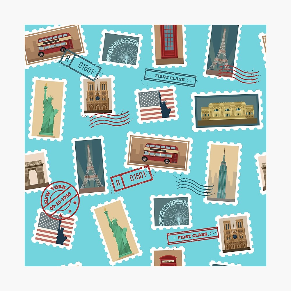 Reise-Briefmarken-nahtloses Muster: USA, New York, London, Paris Fotodruck
