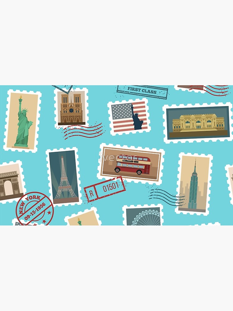 Reise-Briefmarken-nahtloses Muster: USA, New York, London, Paris von ivector