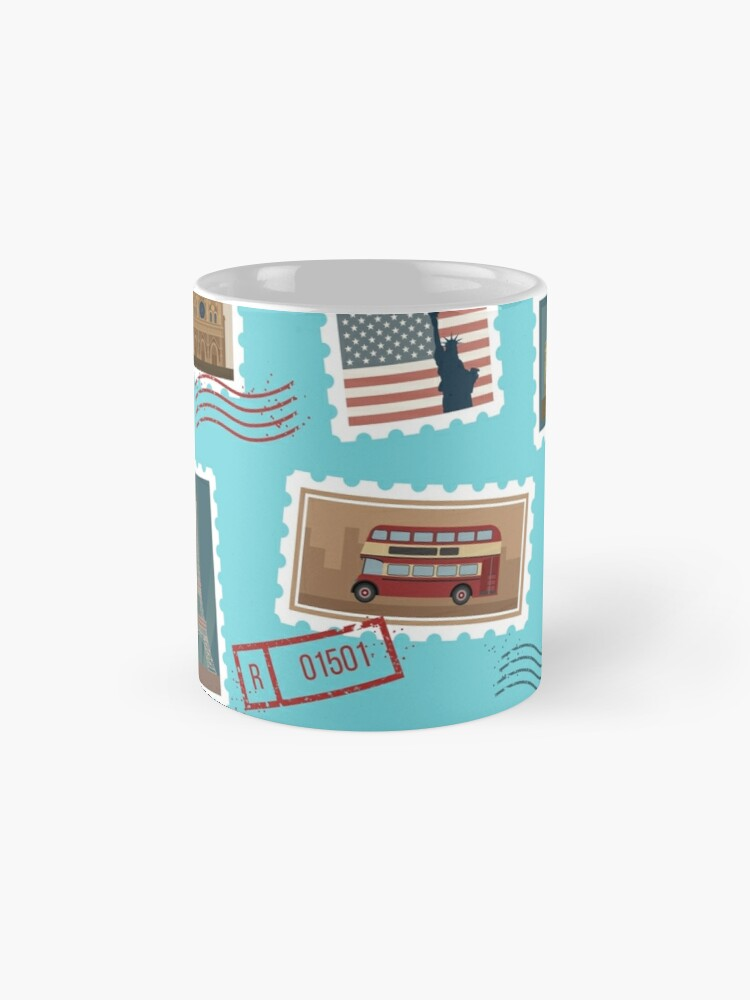 Alternative Ansicht von Reise-Briefmarken-nahtloses Muster: USA, New York, London, Paris Tasse