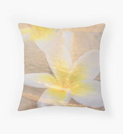 Summer Beach Frangipani / Plumeria Collage Throw Pillow