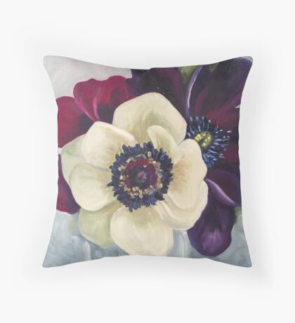 Anemone Flower Oil Painting by Angela Brown Art Throw Pillow