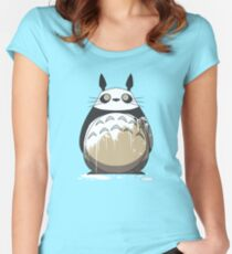Totoro Painting Panda Women's Fitted Scoop T-Shirt
