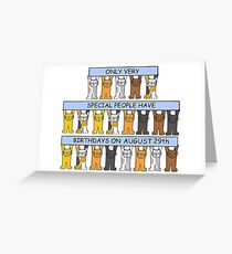 August 29th Birthday Cats Greeting Card