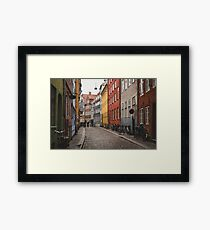 Bicycles & Coloured Building Framed Print