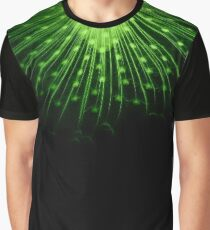 Green Peacock Feathers Collar Graphic T-Shirt