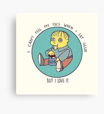Ralph Wiggum eating glue Canvas Print