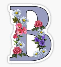 Letter B, Initial, Monogram, Flowers, Art, Alphabet Sticker