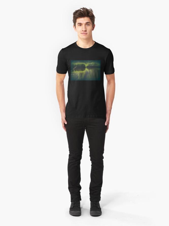 Alternate view of turtle swimming away at Trojan pond, near Goble, Oregon Slim Fit T-Shirt