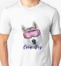 Snow Dog with Goggles Unisex T-Shirt