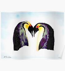 Penguin Love Watercolor Poster