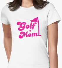 GOLF mom with flag and golf ball Women's Fitted T-Shirt