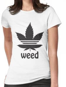 Free the Weed Cannabis Leaf Design Womens Fitted T-Shirt