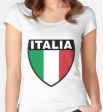 Italy Flag and Shield Women's Fitted Scoop T-Shirt