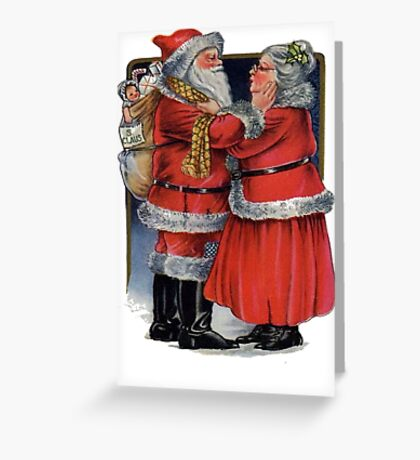 Vintage Mr and Mrs Claus Greeting Card