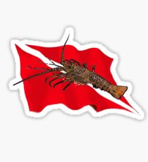 Spiny Lobster and Dive Flag Sticker