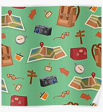 Seamless Pattern of Camping Elements with Baggage, Travel Accessories and Map Poster