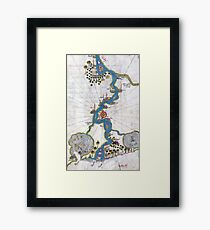 Piri Reis Map of the River Nile From its Estuary South Framed Print