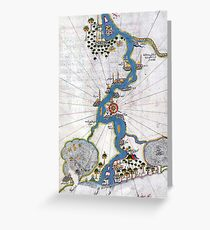 Piri Reis Map of the River Nile From its Estuary South Greeting Card