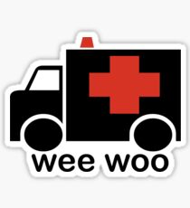 Ambulance Wee Woo Large polices de caractères Sticker