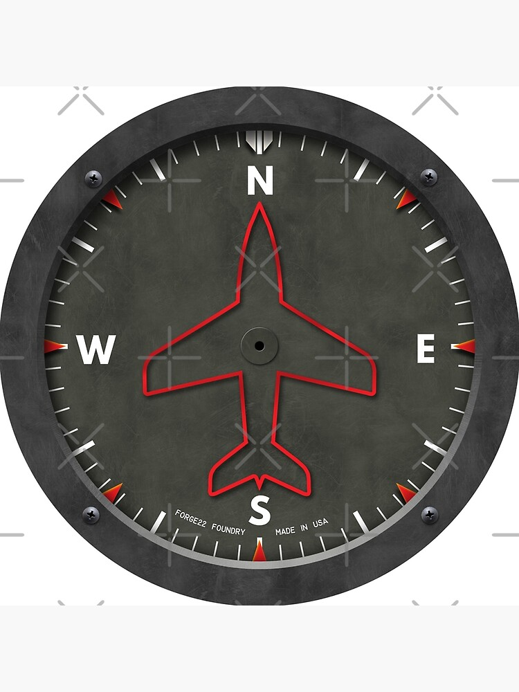 Heading Indicator Airplane Compass Clock by forge22
