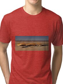 Irrigation Pipes Stacked for the Ready, San Joaquin Valley, California Tri-blend T-Shirt