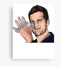 Tom Brady Five Super Bowl Rings Pose Painting  Canvas Print
