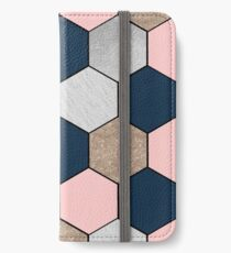 Navy and peach geometric hexagons iPhone Wallet/Case/Skin