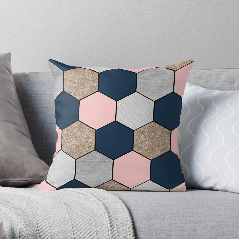 Hexágonos geométricos de la marina de guerra y melocotón Cojín
